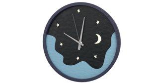 wall clock - night sky 3D model