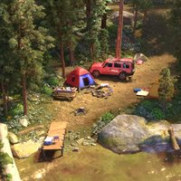 camping tents jungle lake 3D model
