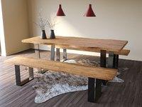 Natural Wood Table Chair Lamp Set