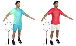 badminton players 3D model