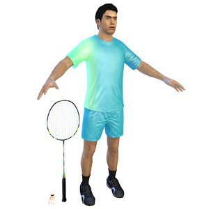 3D badminton player