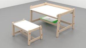 3D ikea flisat children bench