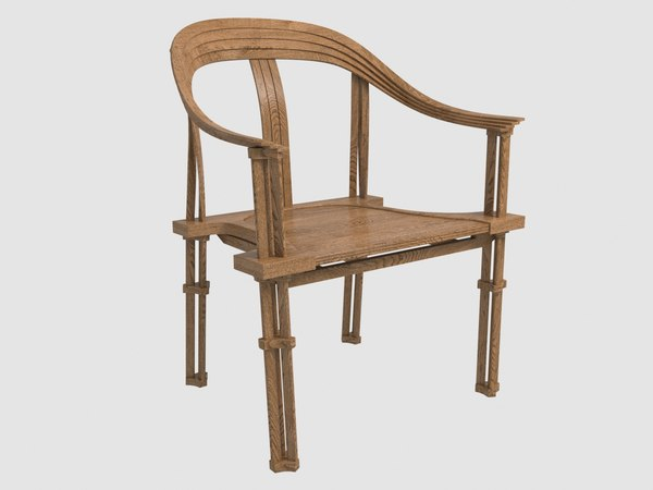 gang rou bamboo armchair 3D model