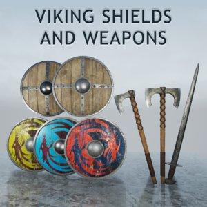 viking shields weapons 3D