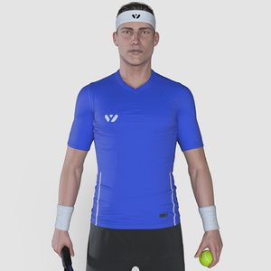 3D male tennis player