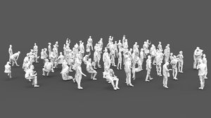 3D 88 people polys model