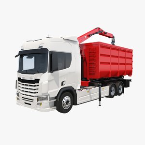 3D model generic waste handling crane truck