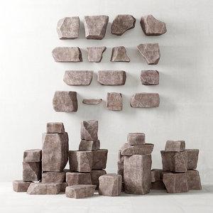 3D stone rock