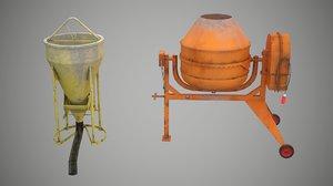 3D model concrete bucket mixer