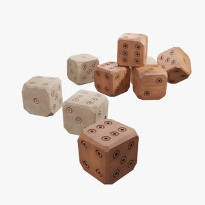 stylised old dice bone 3D