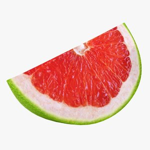 3D realistic green grapefruit slice