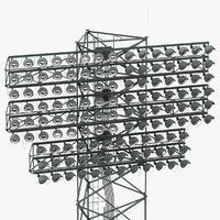 stadium lights lit 3D model