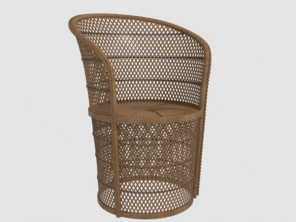 vintage wicker tub chair 3D model