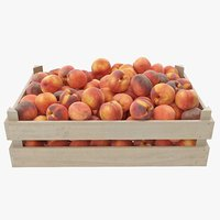 3D peaches 01-04 wooden crate model
