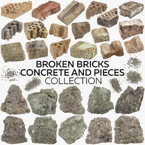 broken bricks concrete pieces 3D
