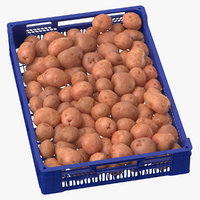 3D postharvest tray red potatoes model