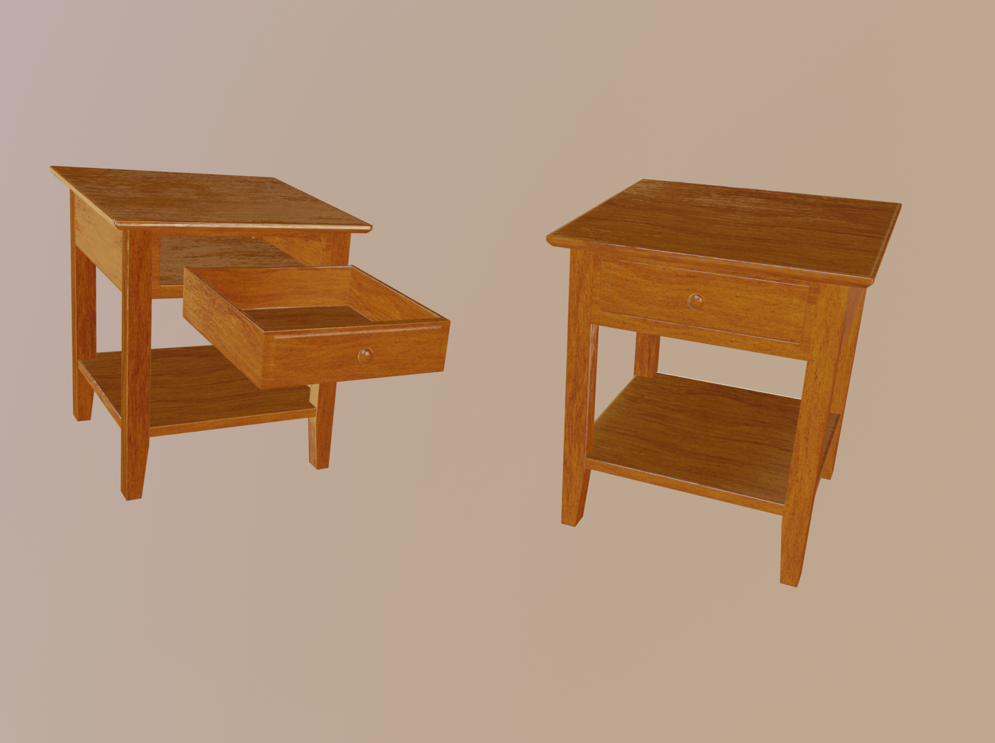 3D orange bedside table model