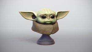 baby yoda mandalorian jedi 3D model