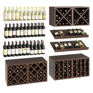 set wine bottles 3D