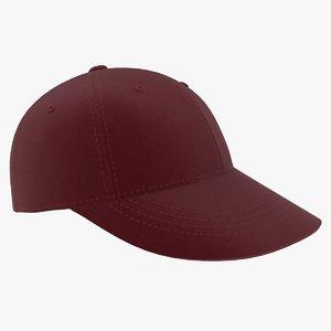 3D model baseball hat dark red