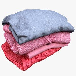 3D model folded sweaters