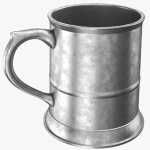real pewter mug jug 3D model