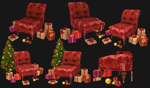 santa chair 3D model