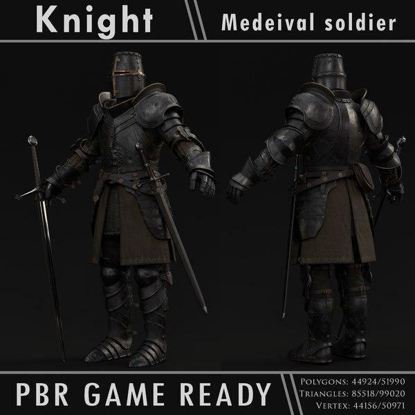 knight character pbr ready 3D model