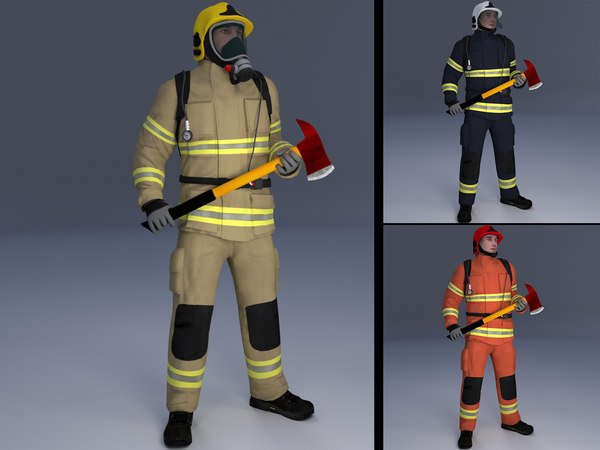 3D rigged firefighter model