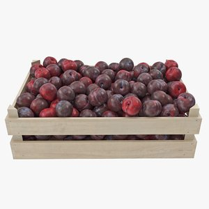 plums 01-03 wooden crate 3D model