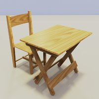 folding table chair 3D model