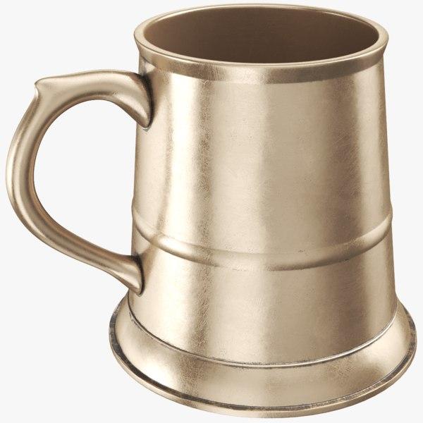 3D real pewter mug jug model
