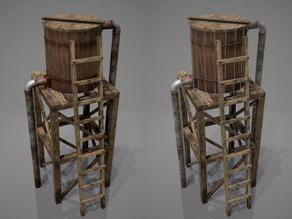 3D old wooden water tower model