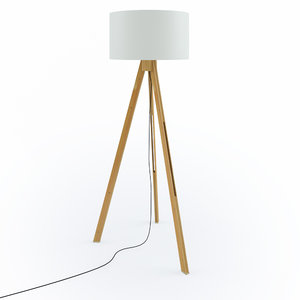 3D tripod wood floor lamp