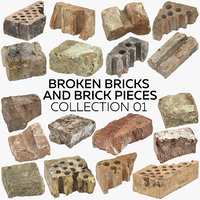 3D broken bricks pieces 01