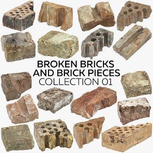 3D broken bricks pieces 01