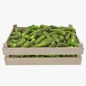 3D cucumbers 05-08 wooden crate model