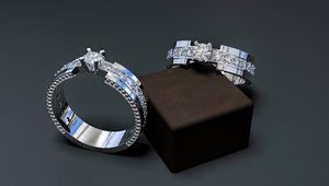 3D jewellery women diamond ring model