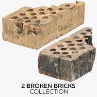 3D 2 broken bricks model