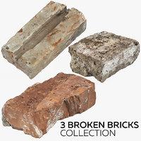 3D 3 broken bricks model