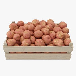 3D potatoes red wooden crate model
