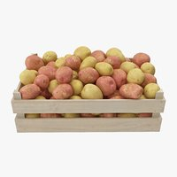 potatoes mix wooden crate model