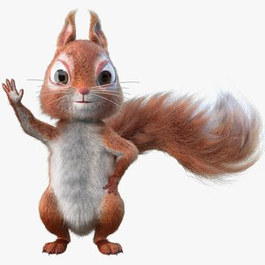 rigged cartoon squirrel fur 3D model