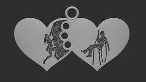 pendant heart climbers 3D model