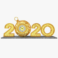 3D digits 2020 year