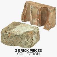 2 brick pieces 3D model