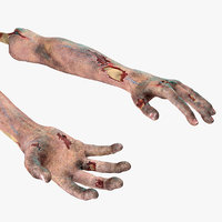 3D bloody zombie arms rigged model