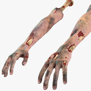 3D model bloody zombie arms rigged