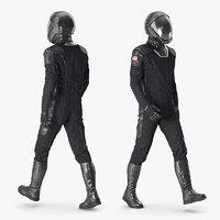 Sci Fi Astronaut Suit Black Rigged for Cinema 4D