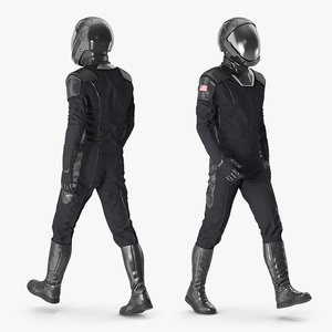 3D sci fi astronaut black